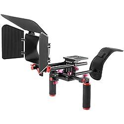 Neewer - Kit de cámara de vídeo para cámaras réflex digitales Canon, Nikon, Sony y otras cámaras réflex digitales, videocámaras DV, incluye:Soporte de hombro, sistema de barra estándar de 15 mm, caja mate (rojo y negro)