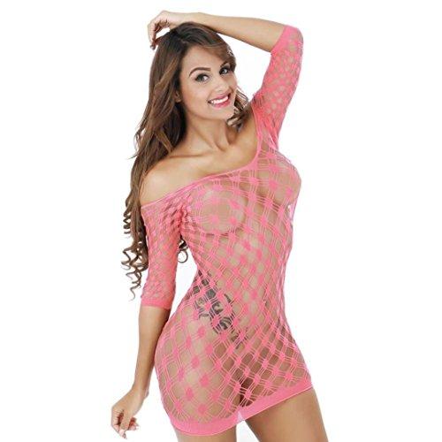 Damen Mesh Dessous Netz Babydoll Minikleid Freie Größe Bodysuit Perspektive Mini Rock Von Dragon868 (Rosa, One Size) (Netz Bügel-bh)