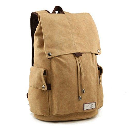 Retro-Segeltuch Rucksack Vintage-Rucksack Schultasche Reiserucksack Laptoprucksack Camping-Rucksack Unisex-Rucksack Lässige Daypacks mit Gepolsterte Tasche für Laptop (Khaki) -