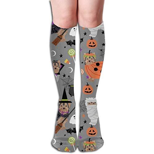NFHRRE Yorkshire Terrier Yorkie Halloween Costumes Cute Dog Fall Autumn Grey Men's Women's Cotton Crew Athletic Sock Running Socks Soccer Socks 60cm