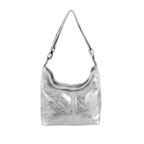 Echt Leder Metallic Damen Tasche Shopper Hobo-Bags Schultertasche Umhängetasche Handtasche Henkeltasche Silber (Silber)