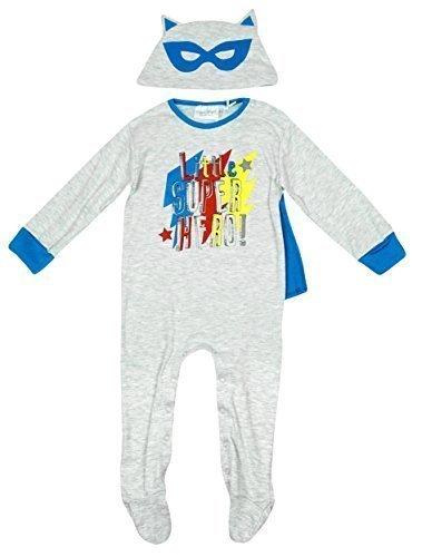 Jungen Baby Kleiner Superheld Strampler mit Kappe & Maske Hut Set größen von Neugeborene bis 12 Monate - Grau - Grau, 74, Grau (Superhelden Outfit Für Baby)