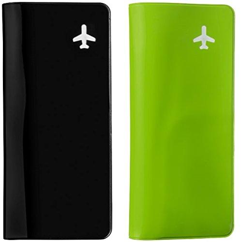 Reisebrieftasche - Dokumententasche - Reisemappe (schwarz - grün)