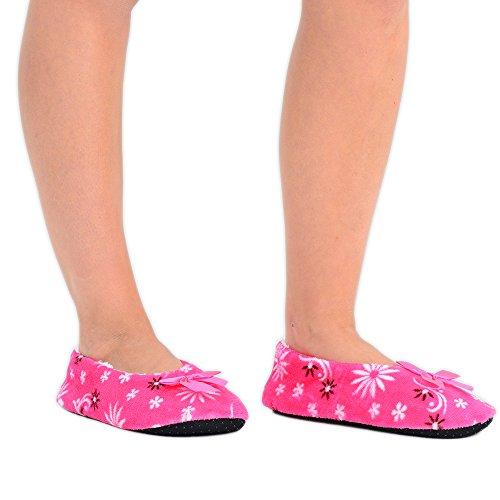 Damen Weiche Hausschuhe Ballerina Slipper mit Blumendesign 6 Farben in EU-Größe 37-40 Pink