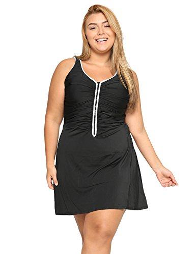 Delimira Damen Badekleid Badeanzug - Reißverschluss Einteiler mit Röckchen Große Größen Schwarz 56