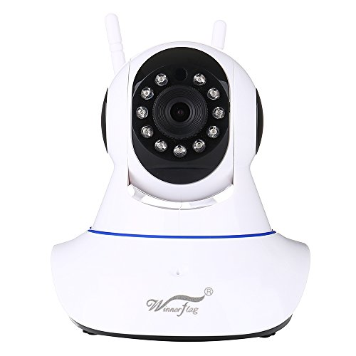 Mini 360 grado rotación cámara de seguridad IP WiFi, monitores de bebés y mascotas. audio de dos vías y visión nocturna infrarroja Pan Tilt detección de movimiento con alerta instantánea, 720p HD P2P de vigilancia en interiores y exteriores, con teléfono inteligente y PC APP Winnerflag® (Camara De Seguridad Video)