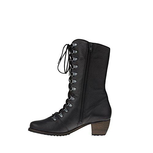 tessamino Damen Stiefel aus Hirschleder, schick, Weite H, für Einlagen Schwarz