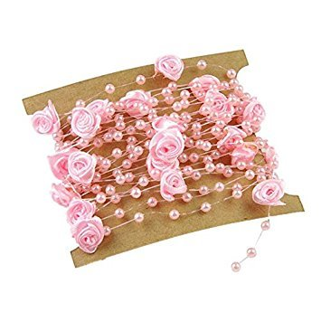 TOOGOO(R) 5 Meters Fishing Line Artificial Pearls Flower Beads Chain Garland Flowers Wedding Party Decoration Pink from TOOGOO(R)