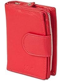 Platino - monedero compacto de lujo de las mujeres con muchos compartimentos para tarjetas de crédito hecha del más fino, el cuero no tratado