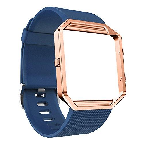 TianranRT Silikon Armband Mit Rose Silikon Armband Watch Band Handgelenk Armband Mit Metall Rahmen Für Fitbit Blaze NY (Marine)