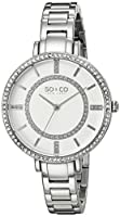 SO & CO New York 5066.1000000000004 - Reloj para mujeres, correa de acero inoxidable color plateado de SO & CO New York