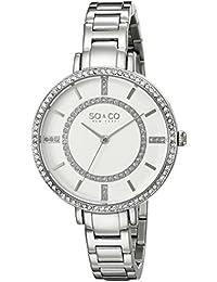 SO & CO New York 5066.1000000000004 - Reloj para mujeres, correa de acero inoxidable color plateado