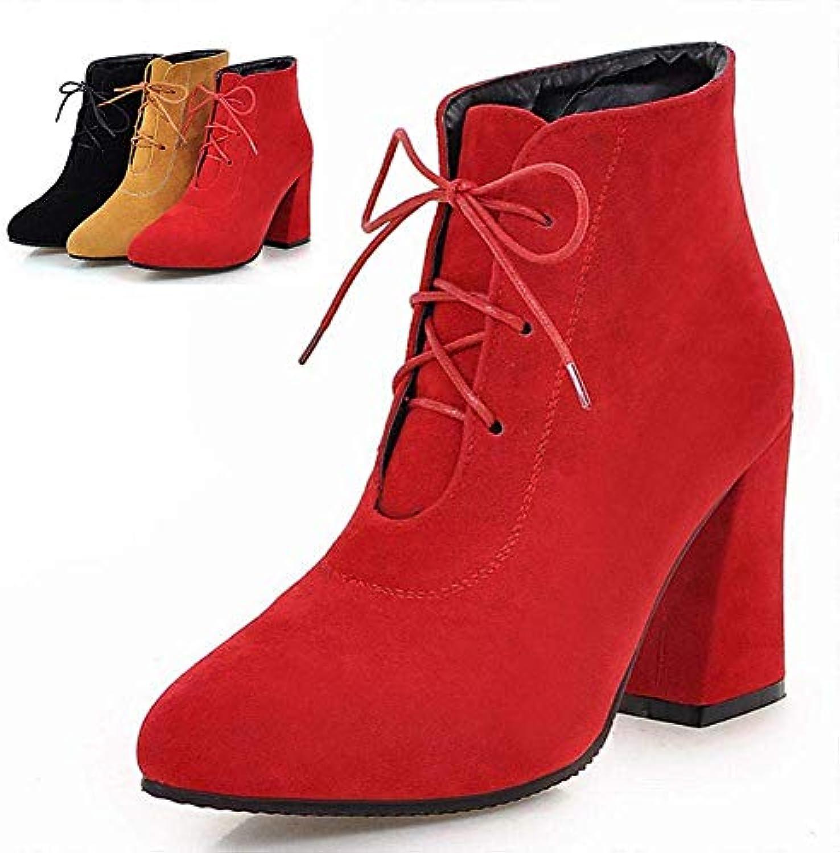 Chaussures pour Dames - Automne et et Automne Hiver Europe et Bottes Chaudes d'hiver/épais avec Bottes à Talons Hauts en... 043f8b