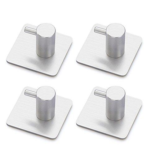 Stahl-tür Spezifikationen (Handtuchhaken Selbstklebend Haken Wasserdicht 3M Kleiderhaken Ohne Bohren Bad und Küche Gebürstetes Edelstahl 4 STÜCK)