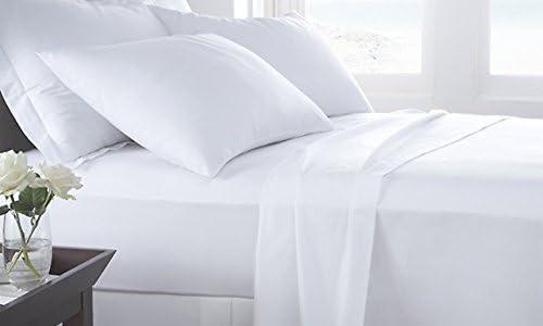 Dreamz letti 250 fili Lenzuolo con angoli elasticizzati (Deep 53,3 Pocket  53,3 (Deep cm) con 2 cuscino Kaiser, Bianco Massiccio, fili  250; 100% cotone extra profonda Pocket inferiore Tabelle 18be1f