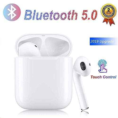 Auriculares Bluetooth,Auriculares Inalámbricos Bluetooth táctiles, emparejamiento de Llamadas automático binaural, con Mic, con Estuche de Carga de 3000 mAh,para Apple Airpods Android iPhone