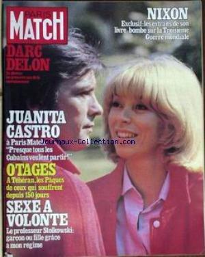 PARIS MATCH [No 1612] du 18/04/1980 - NIXON - LES EXTRAITS DE SON LIVRE-BOMBE. DARC - DELON.- premier pas DE CONVALESCENCE JUANITA - CASTRO - A PARIS MATCH. OTAGES A TEHERAN. SEXE A VOLONTE. LES CHAMPIONS DE TENNIS ONT LES PLUS JOLIES FEMMES AZNAVOUR SAISI RUINE EN 3 MOIS IL RECONQUIERT LE MONDE JERRY HALL - LA COVER GIRL LA PLUS CHERE DU MONDE GARAUDY LA CHANCE GISCARD UN SKIEUR EN CRAVATE A COURCHEVEL PETER SELLERS RESTE L'ETERNEL AMOUREUX APRES 1 INFARCTUS LES VIRTUOSES DE LA DYNAMITE L