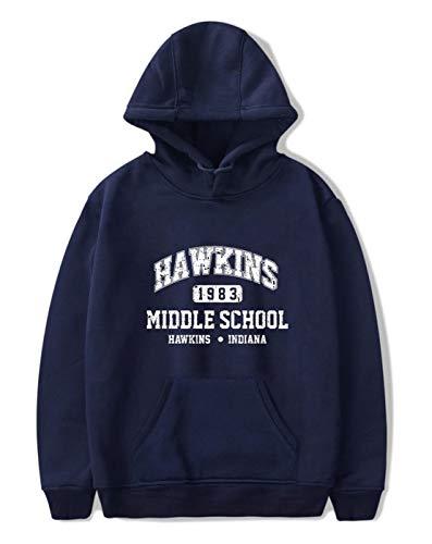 SIMYJOY Unisex Hoodie Hawkins Middle School Pullover 1980er Jahre Mode Vintage Sweatshirt Stranger Things Streetwear für Mann Frau Teen blau A M