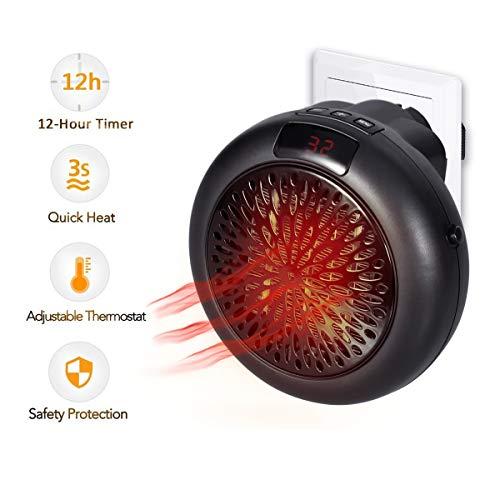 Calentador Instantáneo 1000W Termostato Cerámico Mini Calefacción Calefactor Eléctrico con Temporizador Calefactor de Ventilador para Enchufe de Potencia