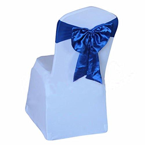 Yontree Lot 10 Noeuds papillon de Chaise Housse de chaise Pas besoin d'être Lié Décor Mariage Banquet Fête Baptême (10 pièces, Bleu royal)