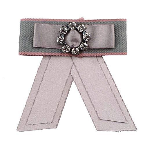 MJARTORIA Damen Schleife Brosche schwarz Streifen Anstecknadel mit Strass Frauen Kragen Schleifenbrosche Modeschmucke für Partys Hochzeit Bankett (rosa#01)