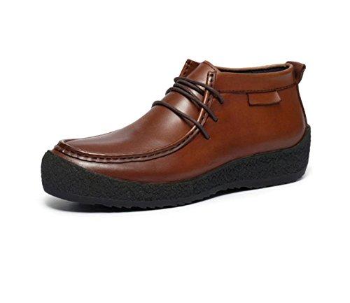 affaires décontractée première couche de cuir de haute-top chaussures à lacets pour hommes automne rond respirant et en hiver a augmenté les hommes à fond épais