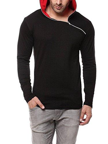 GRITSTONES Men's Cotton Full Sleeve Hooded T-Shirt Black and Red!_Medium-40