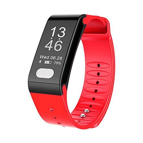 ZYX Schrittzähler Smart Watch, Bluetooth Armband, Fitness Tracker Herzfrequenz-Blutdrucküberwachung, Anruf SMS Empfangen, Lange Standby, Silikon-Armband, 3 Farben,Red