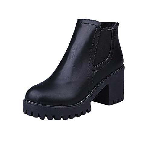 taottao Winter Frauen Hochhackige Martin Stiefel dick mit Stiefel Reißverschluss Knöchel Stiefel niedrig Keil Schuhe Outdoor Beute STILVOLL und Street Snap, schwarz, (Kniehohe Slippers)