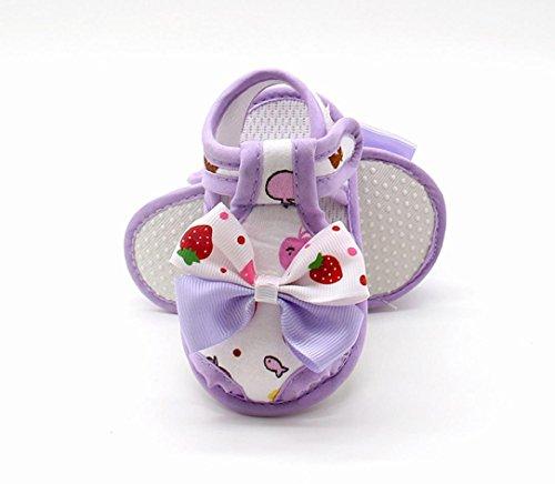 Igemy 1Paar Neugeborene Baby Mädchen Sommer Bogen Soft Sole Kleinkind Anti-Rutsch Schuhe Sandalen Lila