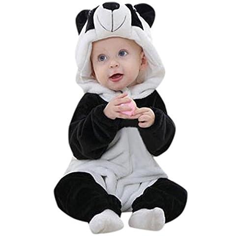 AmazingDays Tout-Petit Nouveau-NéS BéBéS GarçOns Filles Panda Cartoon Hooded Barboteuses Tenues VêTements (24 mois, blanc)