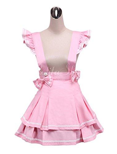 antaina Rosa Hosenträger Baumwolle Layered Bowknot Plissee Lolita Rock Kurzes Kleid Knielang Elegant Faltenrock,L (Rock Plissee Lolita)
