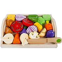 Cocina juguete Madera verduras con imán, 24x 19cm, 22piezas, verduras de madera fruta verduras juguete Alimentos Cocina Niños Cocina ädagogisches Aprendizaje Juguete, Juego de Rol juguete para el Aprendizaje para niños