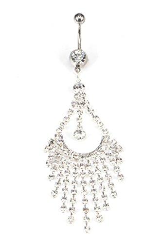 Bishilin Bauchnabelpiercing Silber mit Anhänger Tropfen Zirkonia Bauchnabel Ring Edelstahl Bauch Ring - Bauchnabel-ringe Anker