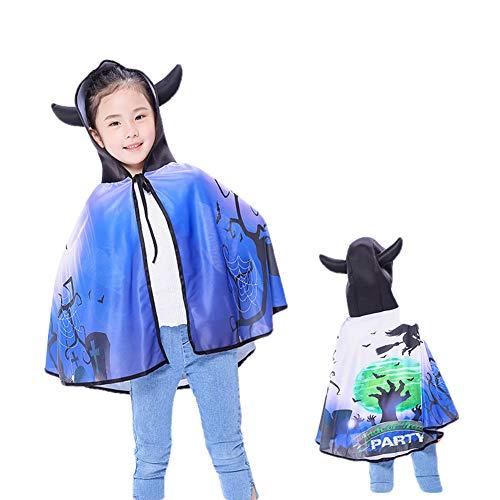 CYYMY Kinder Halloween Umhang Cape Lang Mantel Cosplay Kostüm Karneval Fasching Teufel Kürbis Hexe Vampir Bat Party Ostern Weihnachten 80cm,C (Der Kürbis König Kostüm)