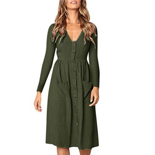Longra Damen V-Ausschnitt Kleid Freizeit Langarm-Kleid Herbst Winterkleid Boho Langes Kleid Vintage...