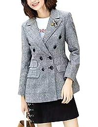 Umvyendt Frauen Plaid Blazer Mantel Zweireiher Langarm Revers Business Jacke 81ec272abe