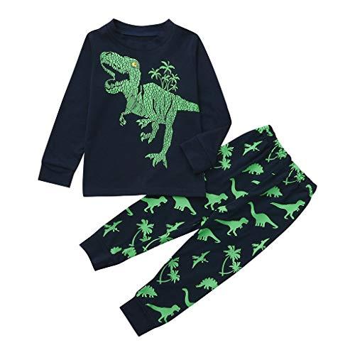 Tute bambino con dinosauri, 1-7 anni completo bambini ragazze e ragazzi 2 pezzi tute maglietta manica lungo stampe dinosauri + pantaloni casa set cotone primaverili estate (6-7anni, verde)