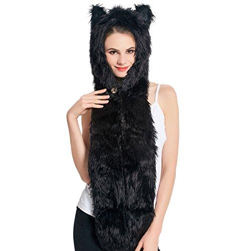 Kunstpelz Animal Hat Schal Handschuhe Fäustlinge 3-in-1 Funktion Furry Hoodie mit Pfoten Ohren (Black Panther) Animal Hoodies Mit Ohren