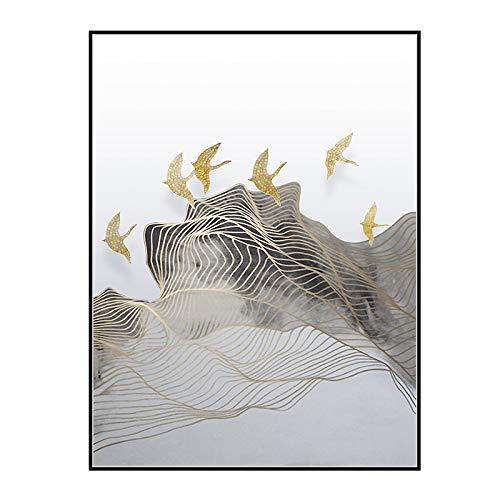 zlhcich Geometrische abstrakte künstlerische Dekoration dekorative Malerei Wohnzimmer Sofa Hintergrund Wand Zen Landschaft H 60 * 80cm -