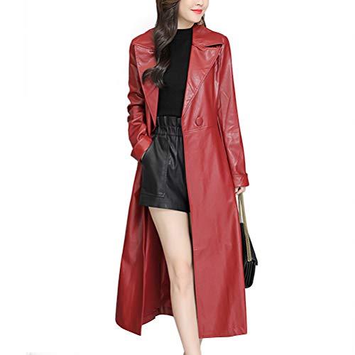 YUFAA Lady Fashion Black Casual Leder Baumwolle Windjacke Mantel Jacke für Frauen Outwear (Color : RedCotton, Size : M)