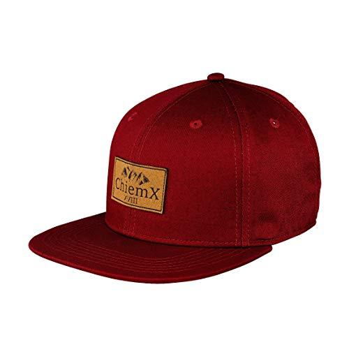 - Rot/Weinrot/Dunkelrot - aus Baumwolle und mit Kunstlederpatch - One Size Kappe für Herren und Damen ()