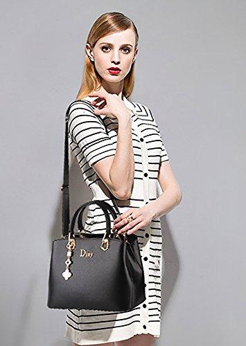 CLOTHES- Borsa femmina borsa in pelle borsa versione coreana sacchetto selvaggio grande borsa medi borsa ( Colore : Rose red ) Nero