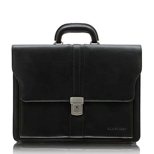 Bag Street Aktentasche Herren schwarz Kunstleder-Aktentasche Aktenkoffer Bürotasche mit Fee-Anhänger von SilberDream OTJ117S (Aktentasche Nappa-leder)