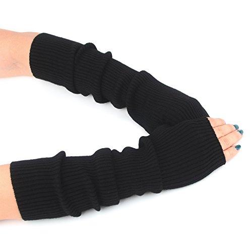 Zelta Women's Knit Elbow Length Arm Warmer Thumb Hole Fingerless Glove
