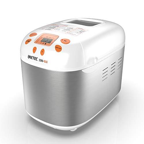 imetec zero-glu macchina per pane e dolci, 20 programmi/7 senza glutine, accessori per 3 forme di pane, avvio programmabile, ricettario, 1 kg, impasta, lievita e cuoce, 920 watt, bianco/grigio