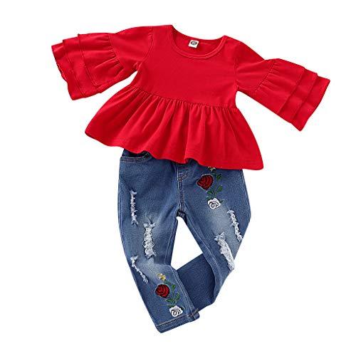 LEXUPE Baby Kind Mädchen Rüschen T Shirt Tops + Blumenstickerei Denim Hosen Outfit Set(Rot,100)