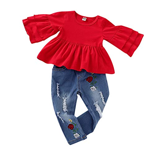 Lookhy Kinder-Kit, Kinder Kurzarm einfarbige Lotus-Blatt Ärmel Top mit Blume Bestickt Jeans Set Kleinkind Babykleidung Set Kurzarmshirts + Strap Rock oder kurzes Baumwolloutfit Set 2 Stück (Kit Das Fox Baby Kostüm)