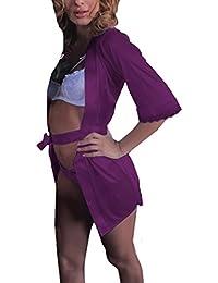 Yesmile Ropa de Interior Pijama Barata Mujer Vestido Largo de Seda del Baño Ropa Dormir del