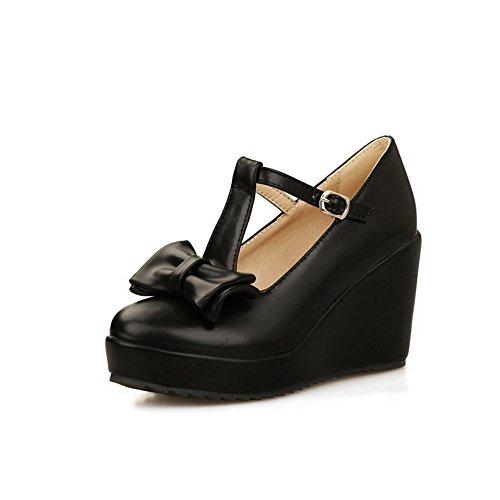 BalaMasa zeppa da donna, con fibbia, tessuto morbido pompe-Shoes Nero (nero)